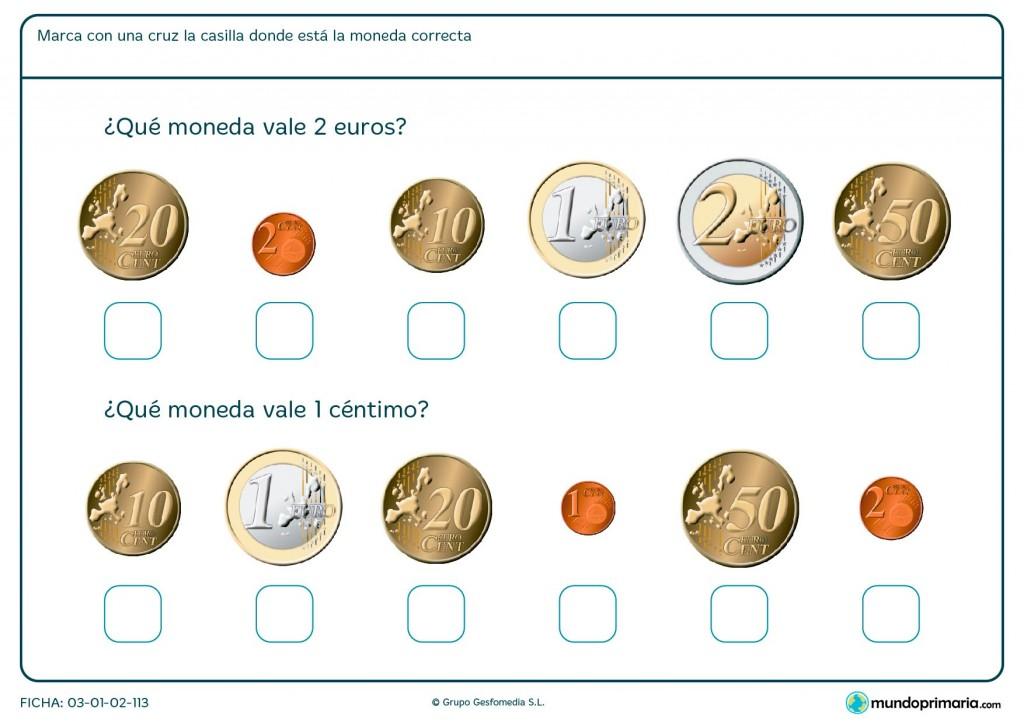 Ficha de monedas de euros