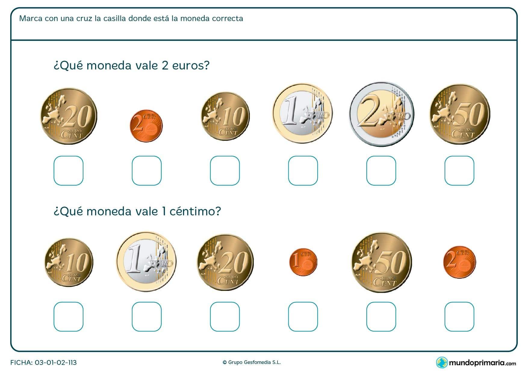 Ficha de monedas de euros en la que deberás señalar cuál corresponde a 2 euros y cuál a 1 céntimo.