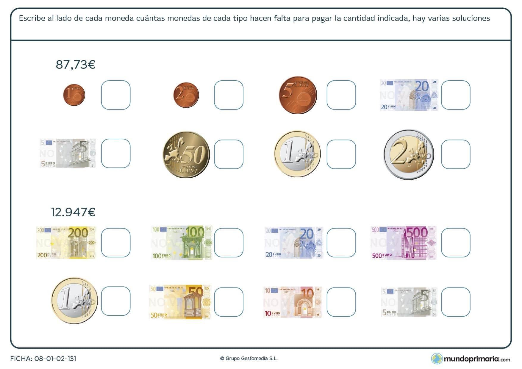 Ficha de monedas y billetes en la que tienes que marcar en cada casilla el número de ellos que necesitas.