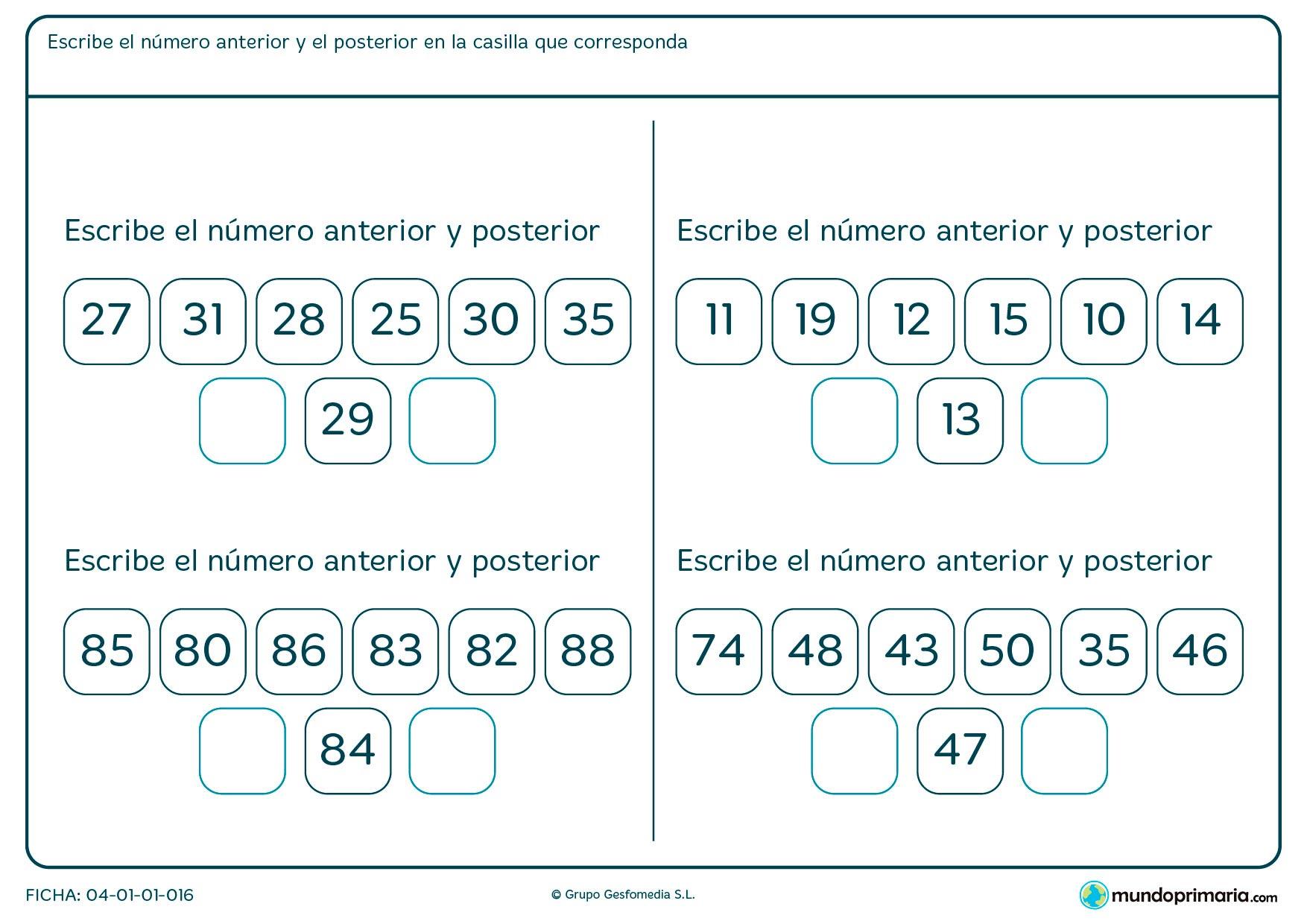 Ficha de número anterior a uno dado, Escribe el que cumpla este criterio.