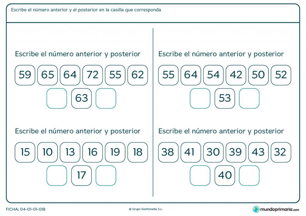 Ficha de número anterior y posterior para primaria