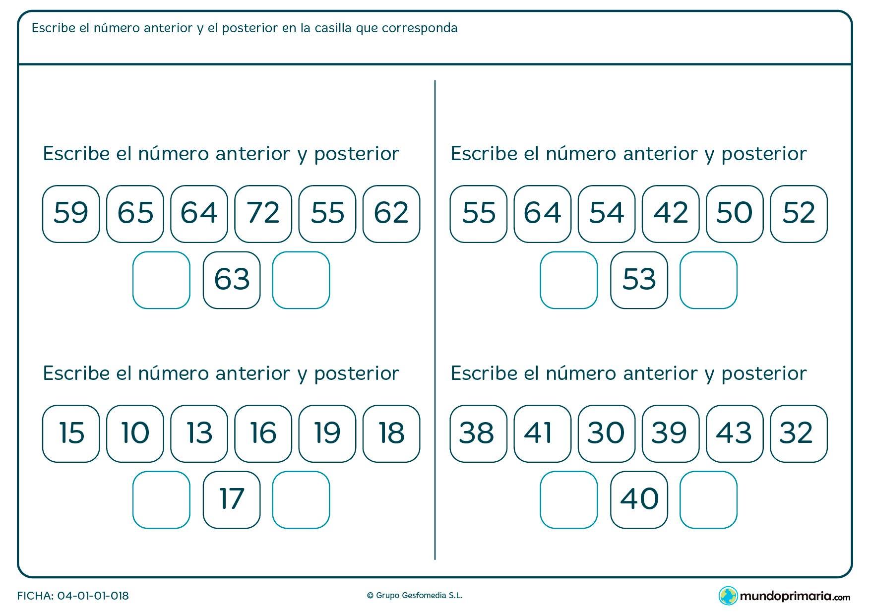Ficha de número anterior y posterior a uno que te facilitamos, elige 2 a colocar entre 6 posibles respuestas.