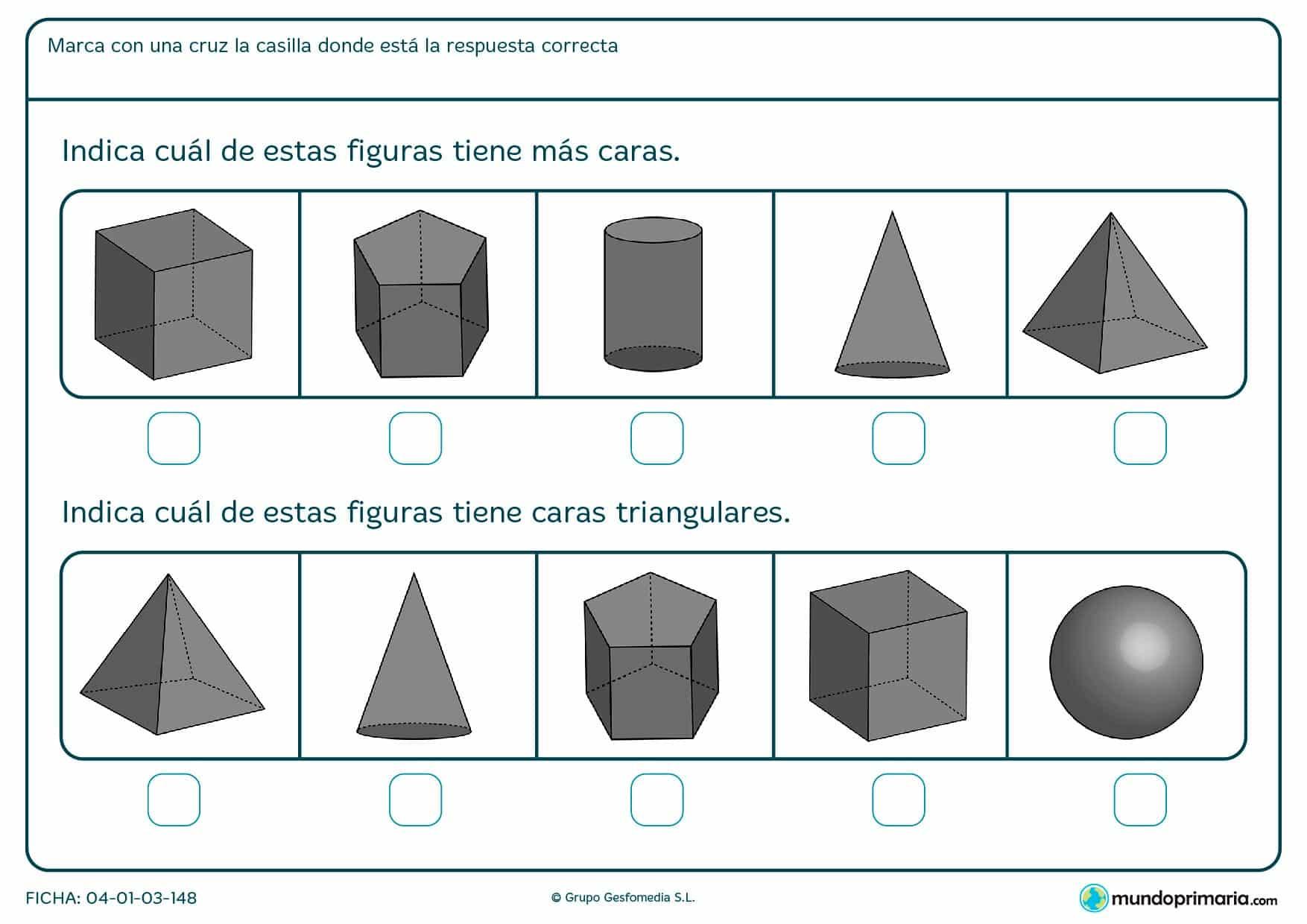Ficha de número de caras de figuras geométricas consistente en elegir la correspondiente a lo que se te pide.
