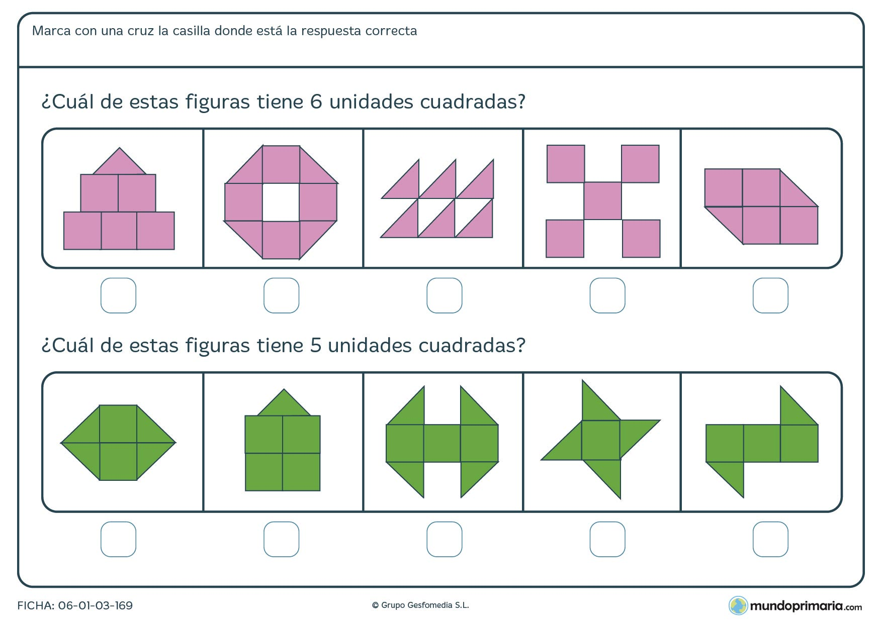 Ficha de número de unidades cuadradas y triangulares de las que tienes que hallar los cuadrados totales que las componen.