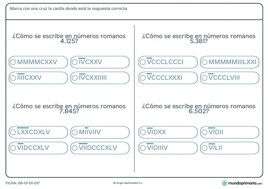 Ficha de número romano a números de 4 cifras para primaria