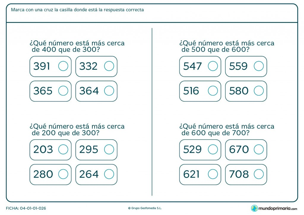 Ficha de números cercanos para primaria