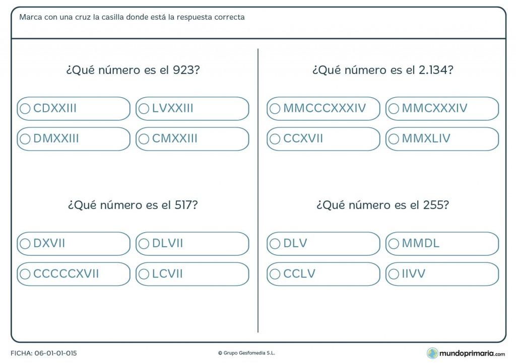 Ficha de números comunes a romanos para primaria