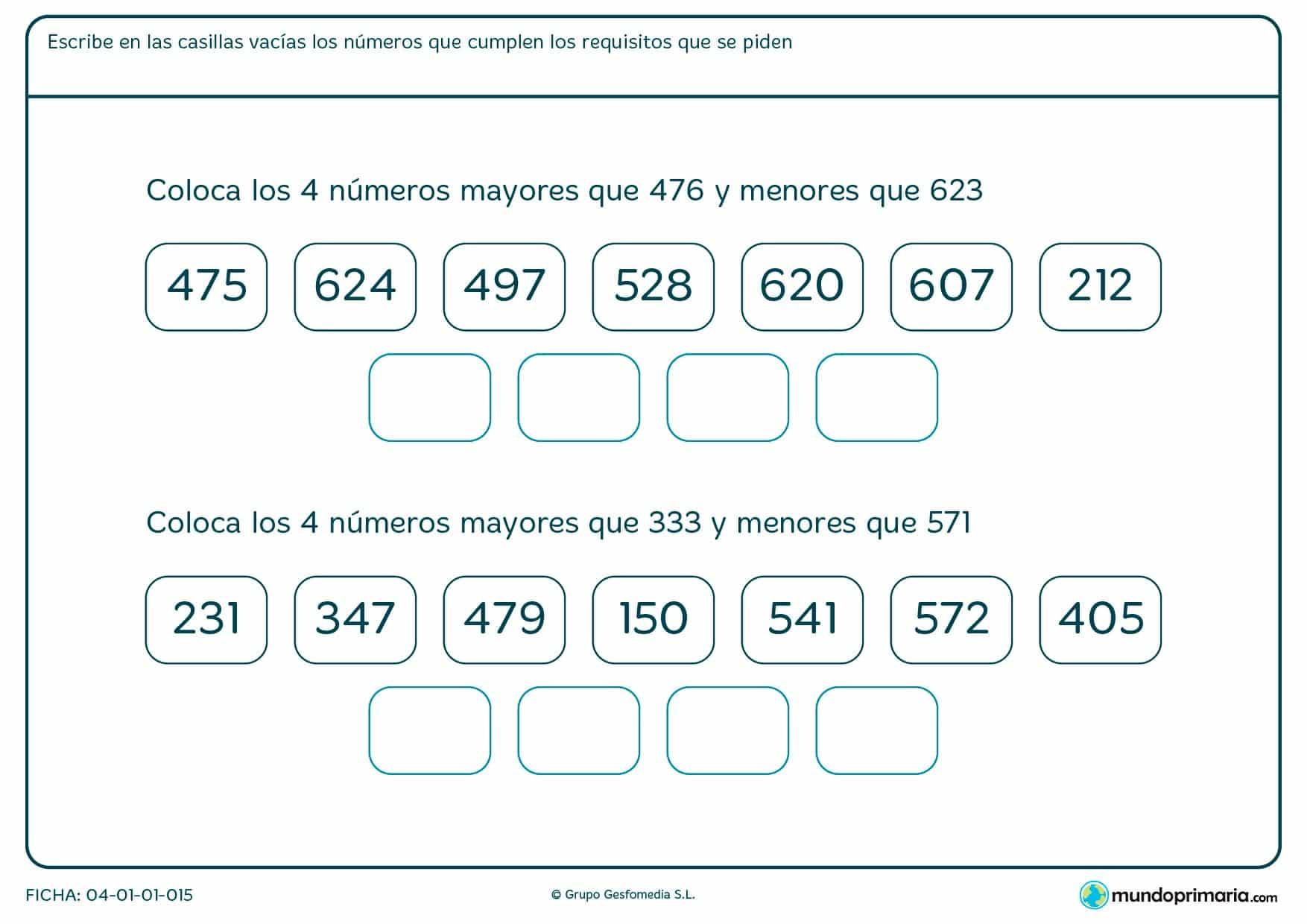 Ficha de números con tres cifras en los que habrás de colocarlo teniendo en cuenta que han de estar entre 2 números que te indicamos.