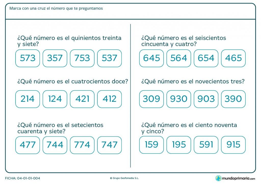 Ficha de números de tres cifras para primaria