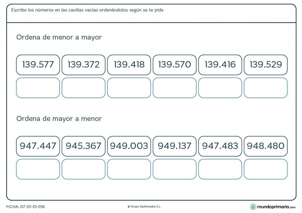 Ficha de números desde el menor al mayor para primaria