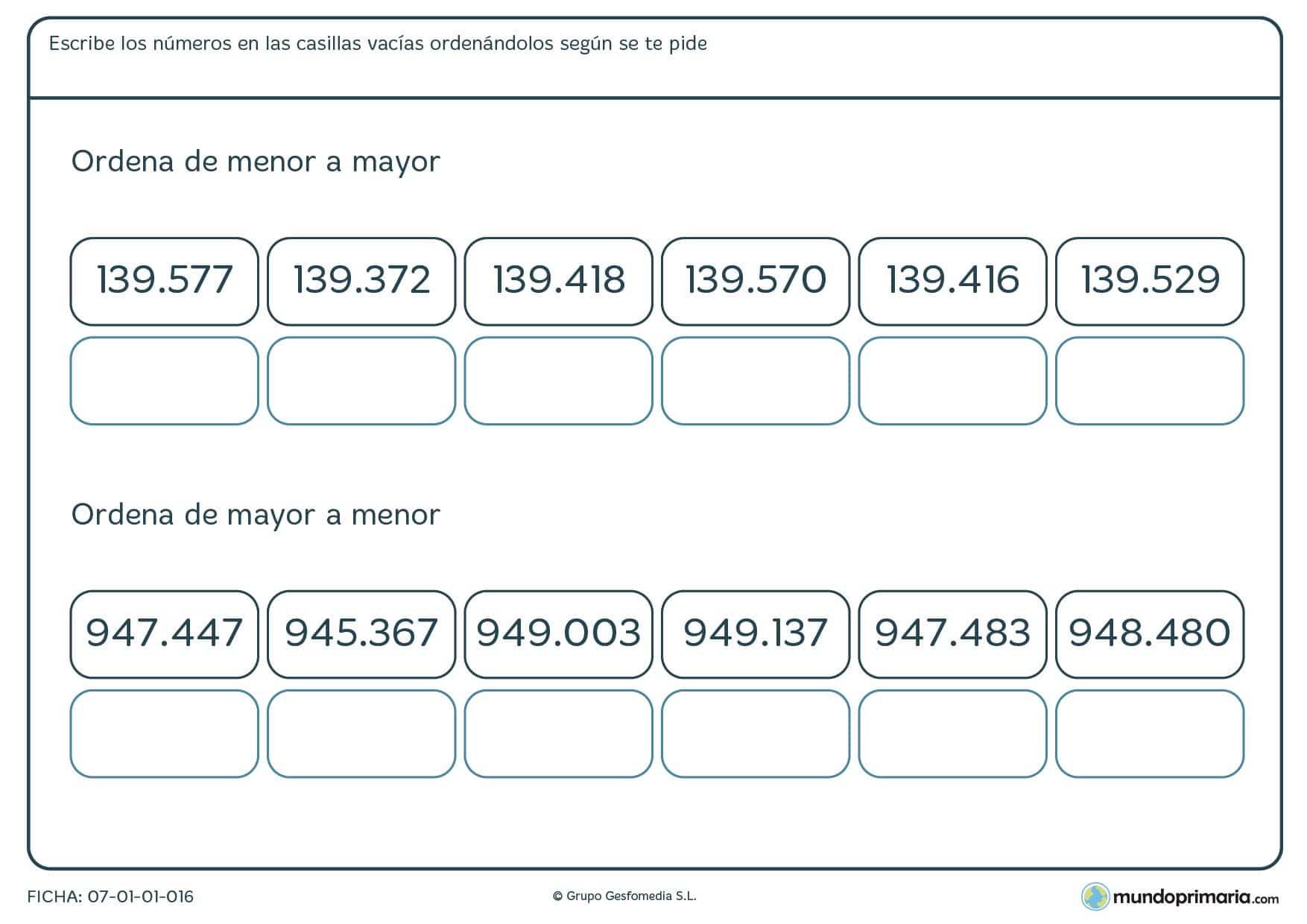 Ficha de números desde el menor al mayor en la que los tienes que colocar bien.