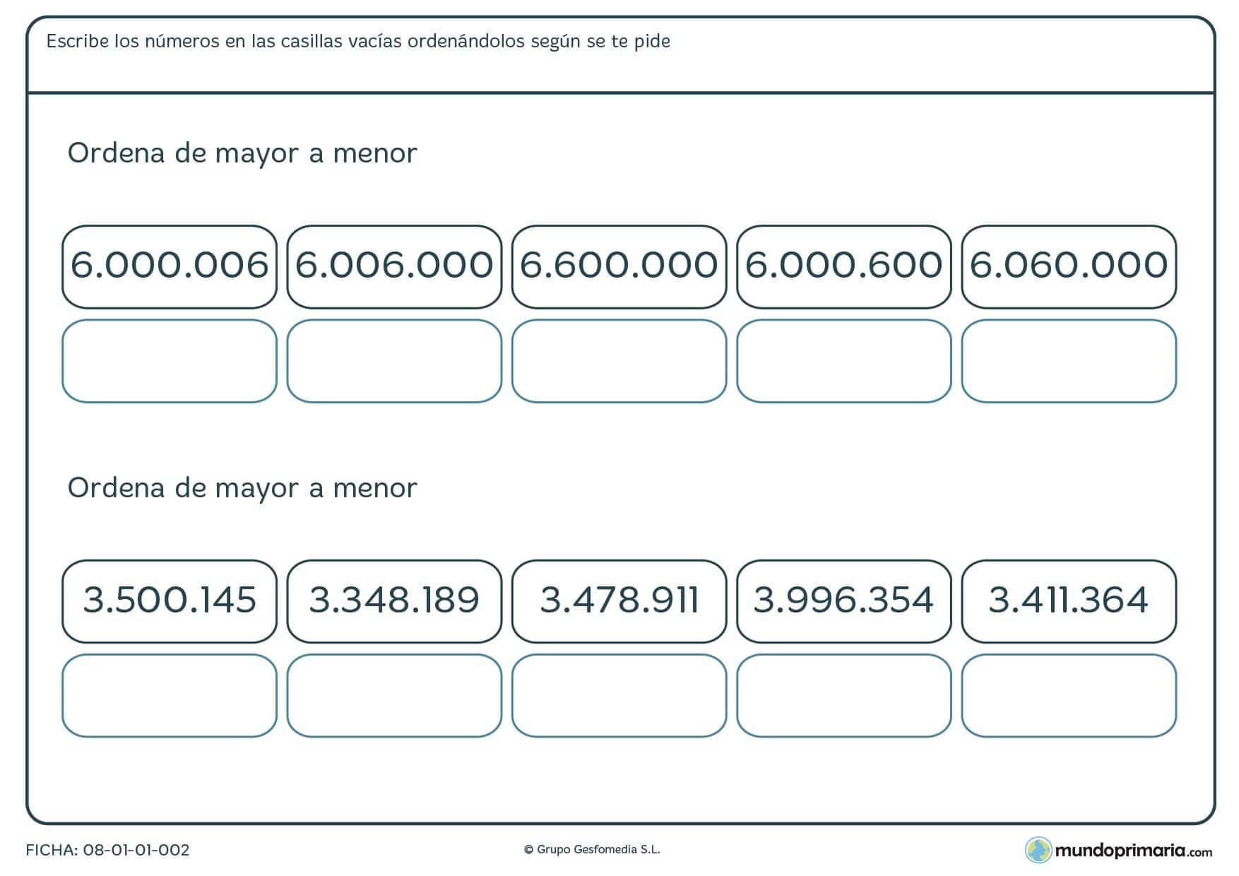 Ficha de organizar números de 7 cifras escribiéndolos en las casillas huecas, en orden de mayor a menor.