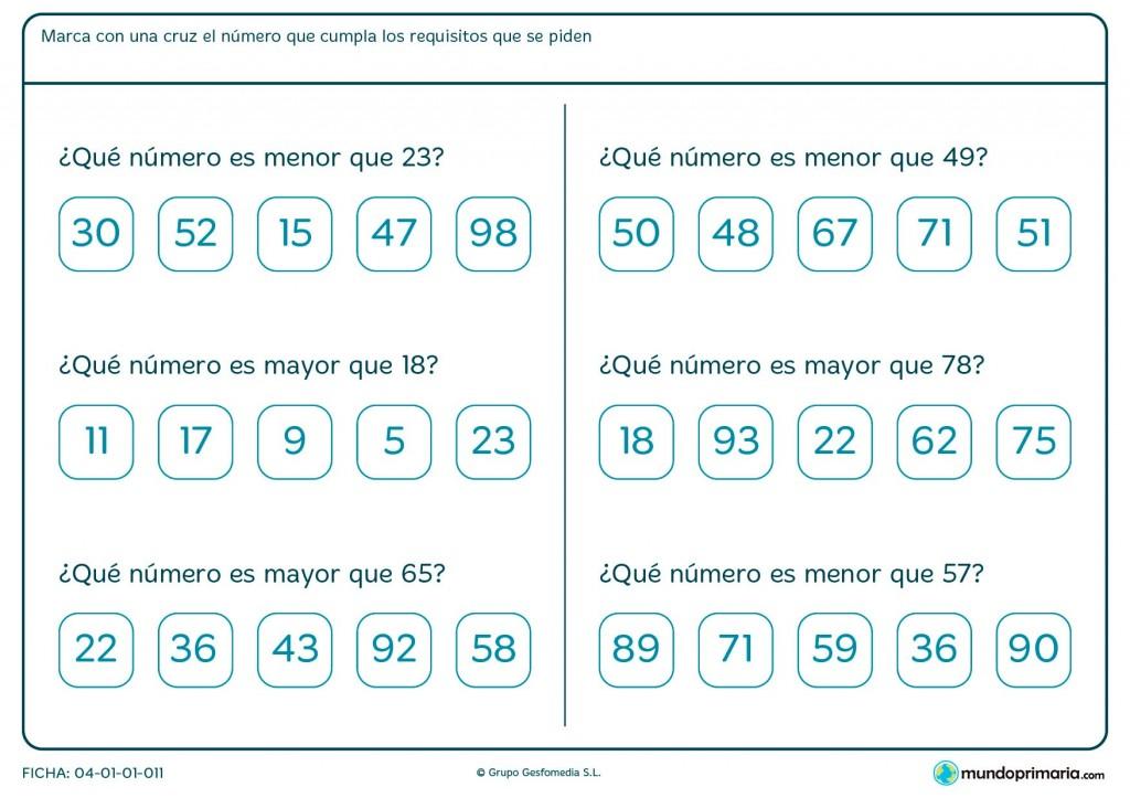 Ficha de números mayores para primaria