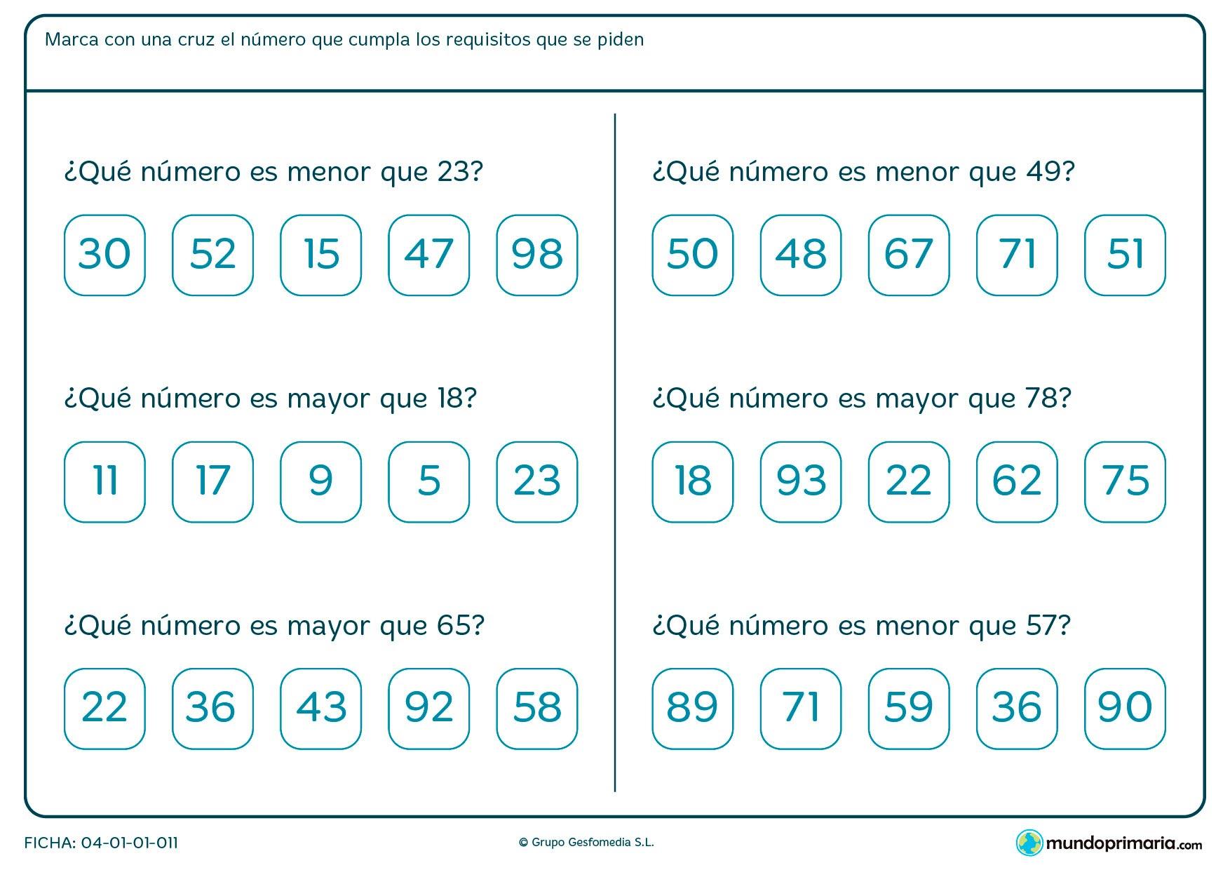 Ficha de números mayores o menores del que aparece en el enunciado.