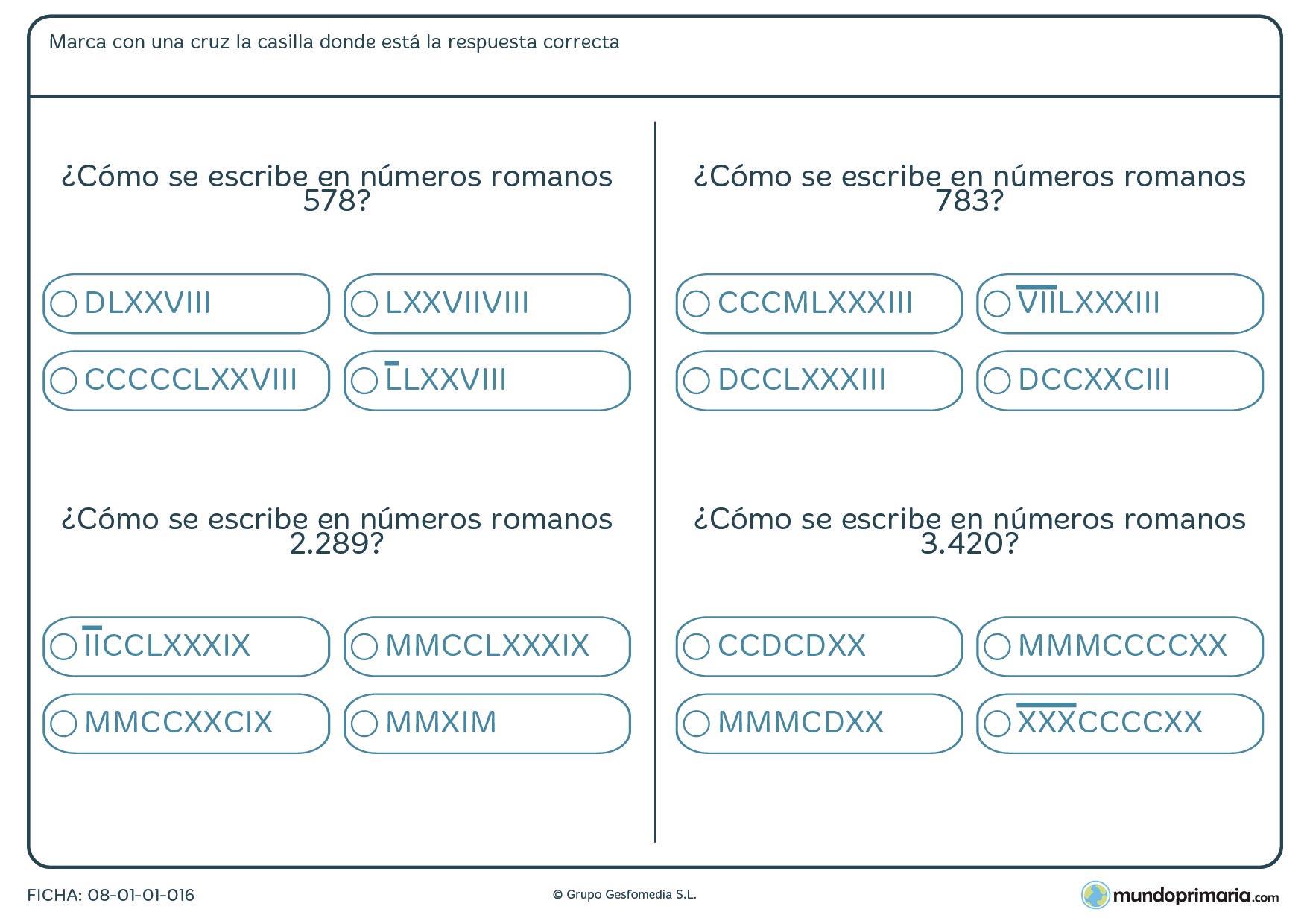 Números romanos en la que has de convertir a números comunes.