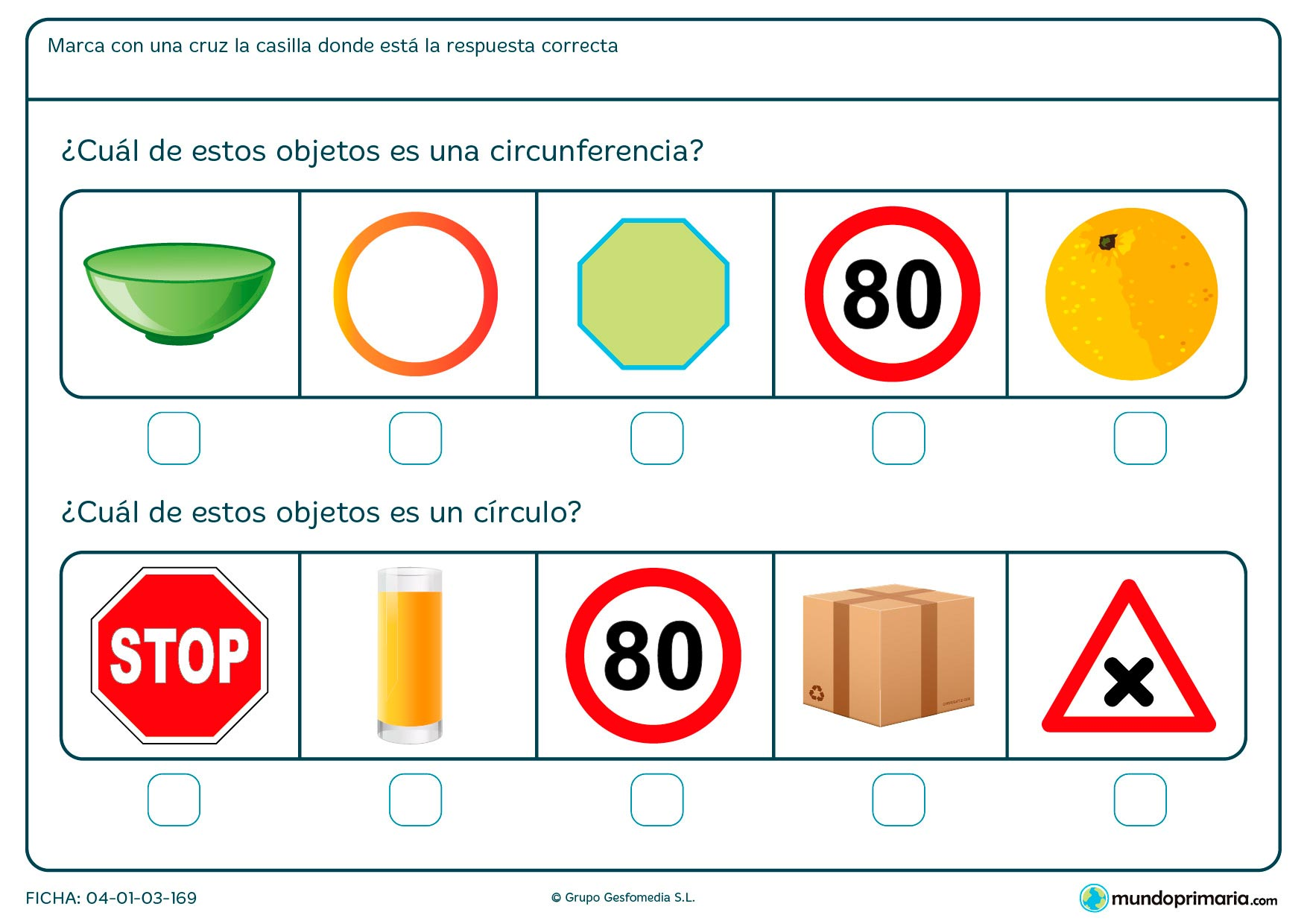 Ficha de objetos circulares con dibujos de objetos cotidianos de los que tienes que señalar los círculos y las circunferencias.