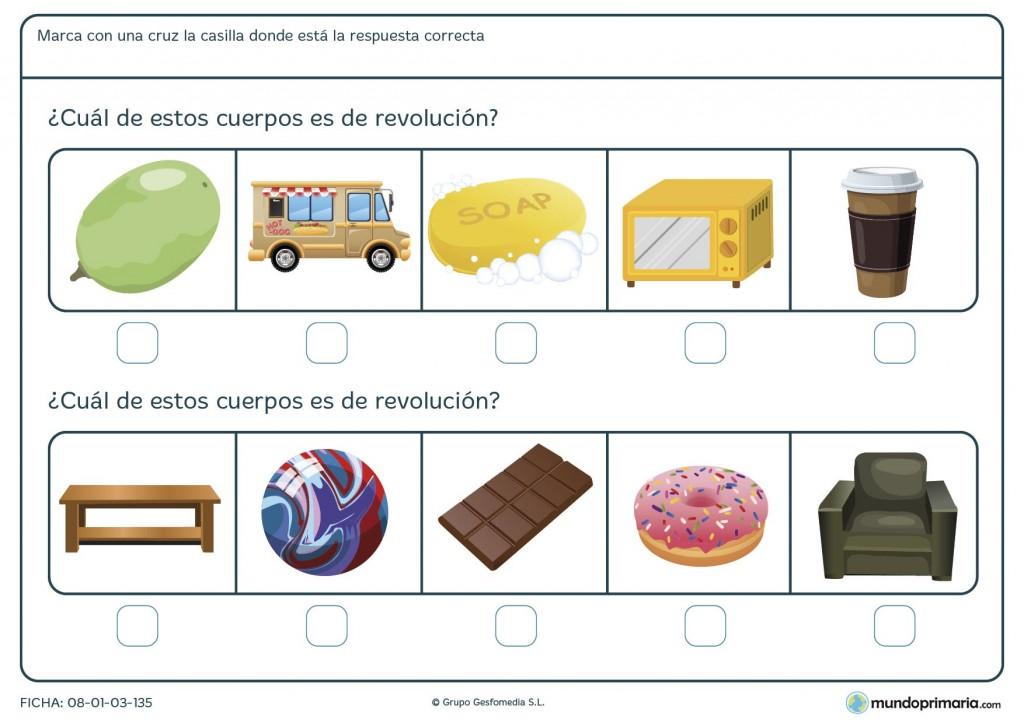 Ficha de objetos de revolución para niños de 6º de primaria