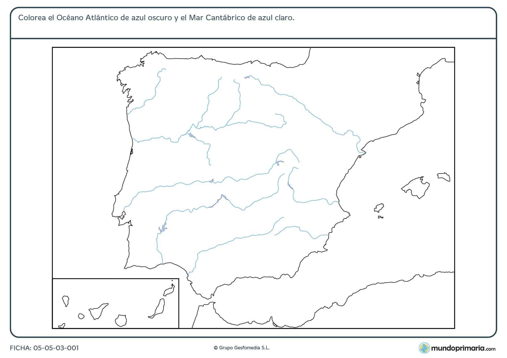 Ficha de océano y mares de la Península Ibérica en la que hay que colorear los que se nos piden del mapa.
