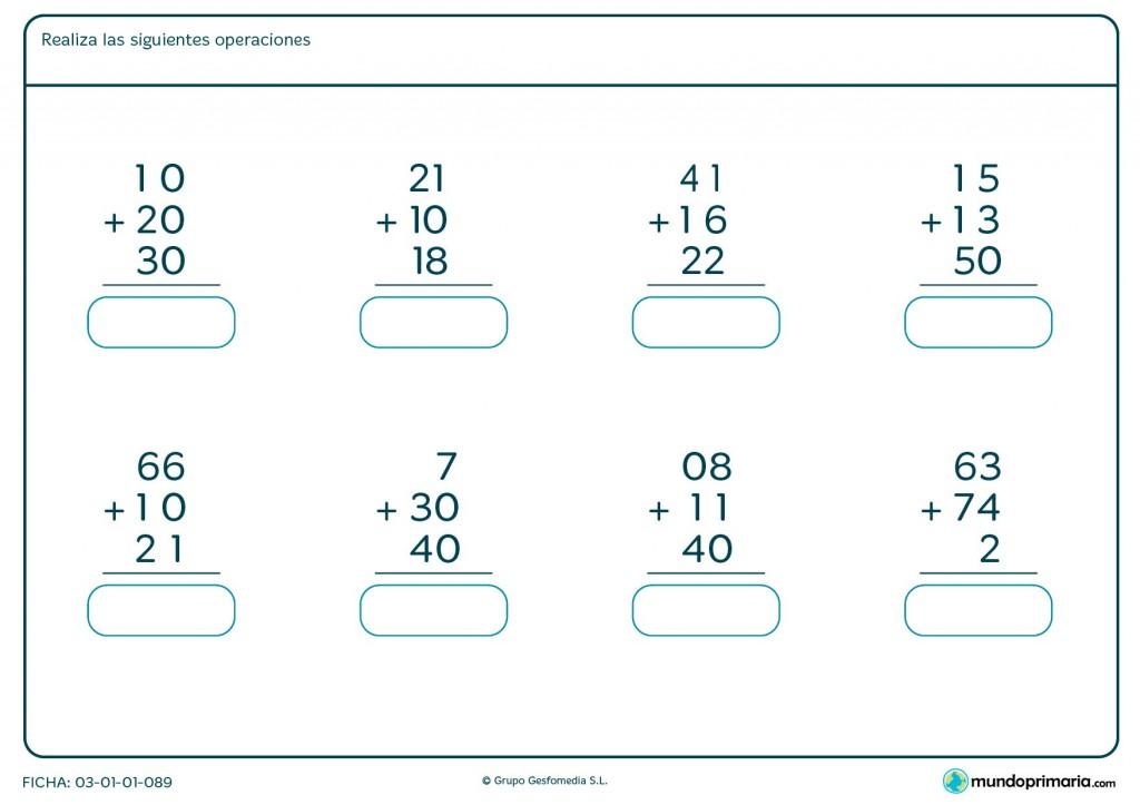 Ficha de operaciones de sumar 3 números para niños de primaria