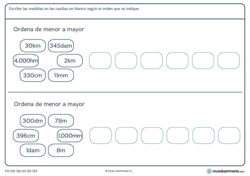Ficha de orden de medidas para niños de 9 años
