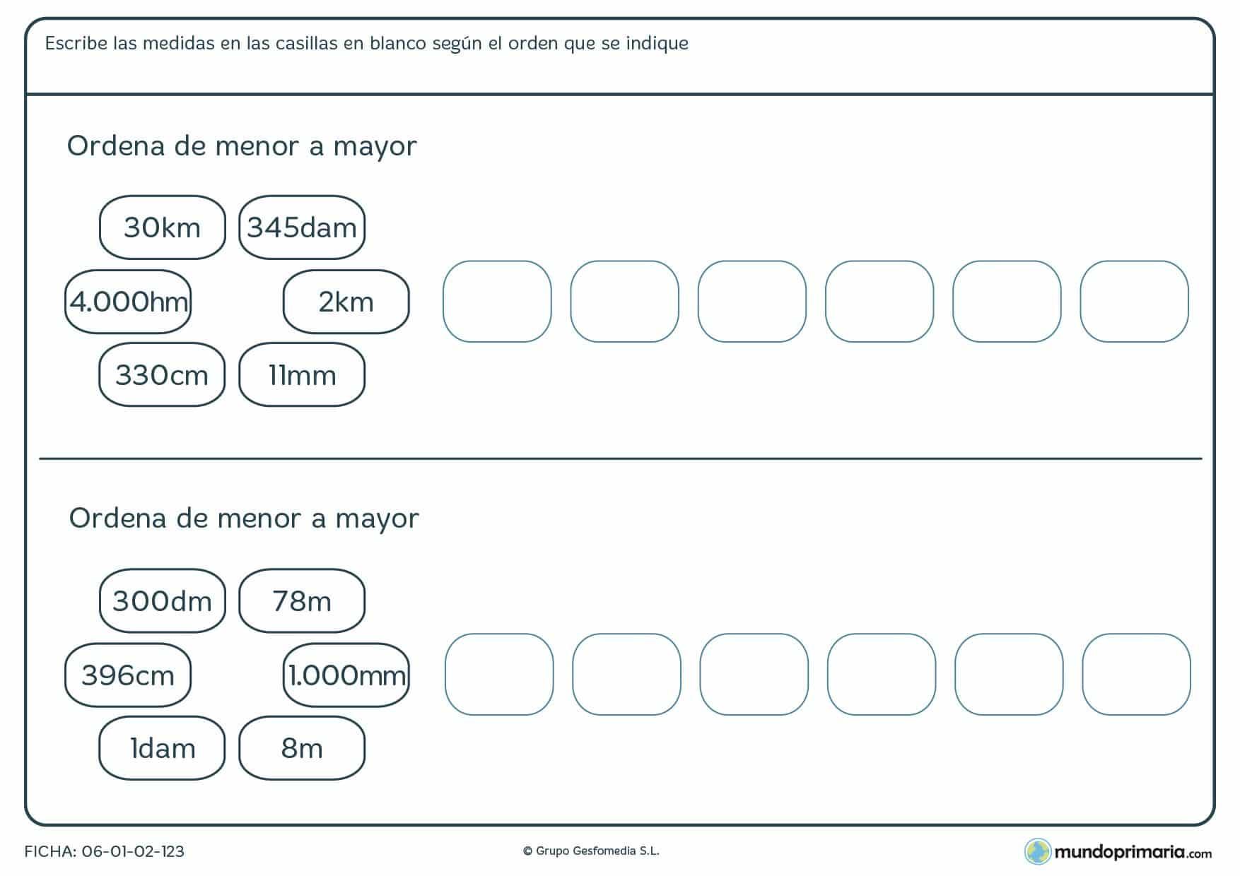 Ficha de orden de medidas de menor a mayor según sus equivalencias.