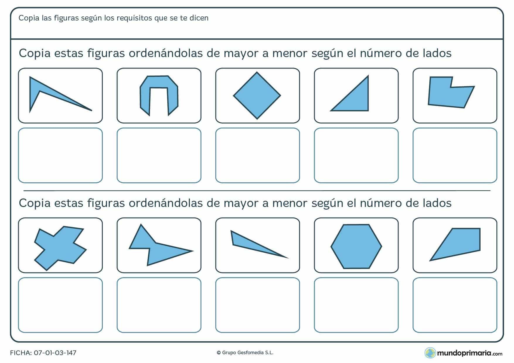 Ficha de orden de más lados a menos lados de figuras geométricas.