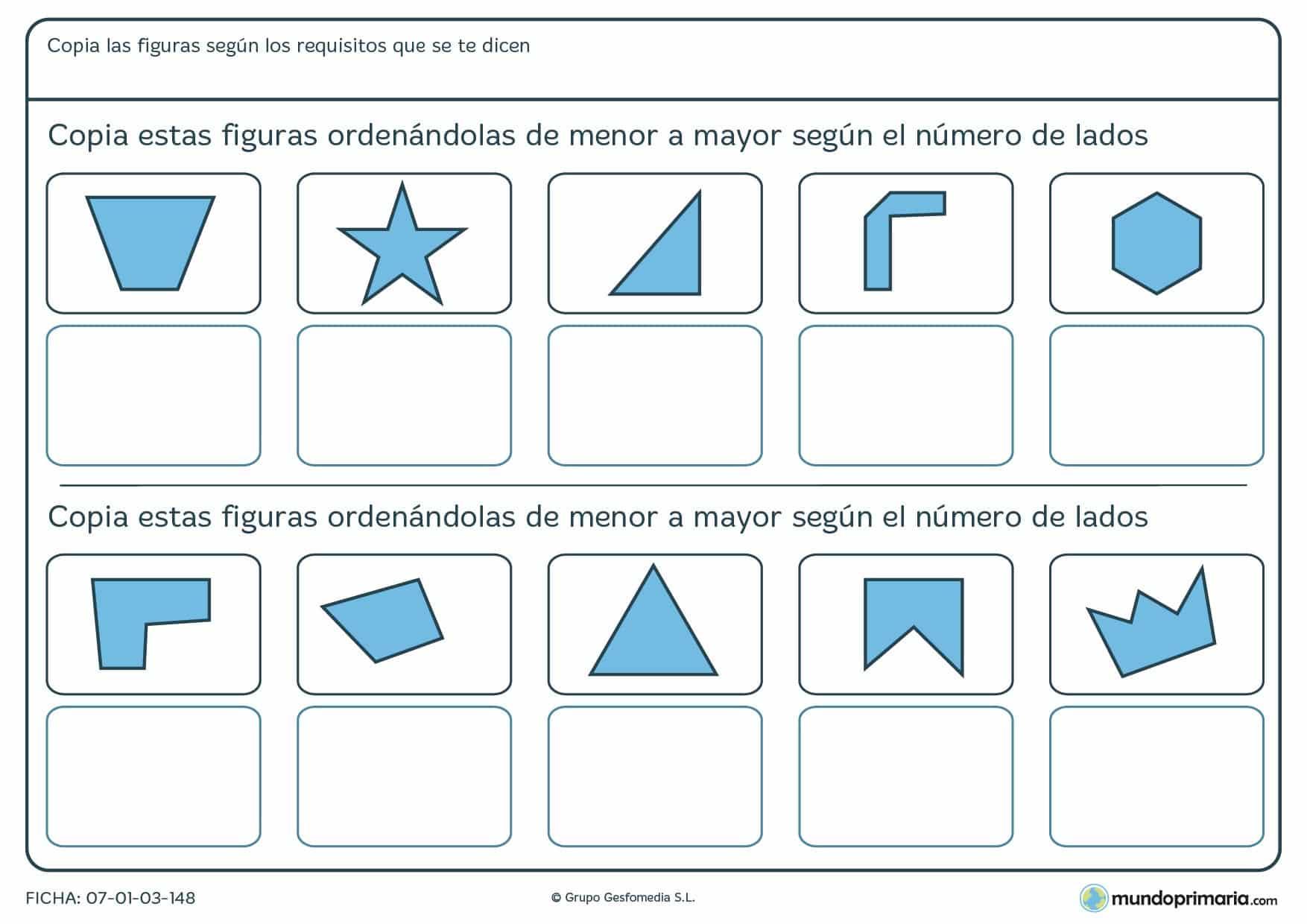 Ficha de ordenar menos lados o más de figuras geométricas según se pide.