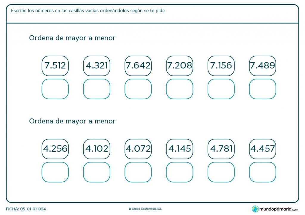 Ficha de ordenación de números para niños de primaria