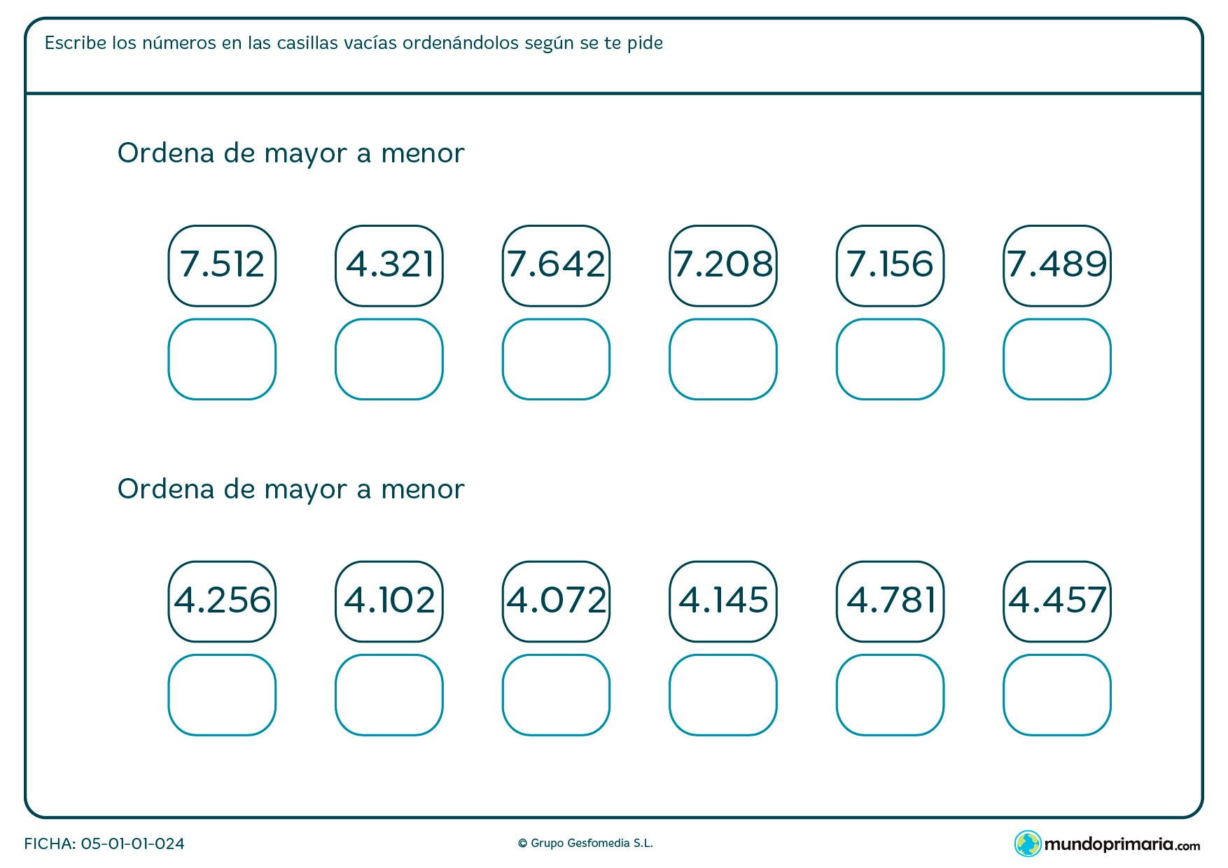 Ficha de ordenación de números del mayor hasta el menor.