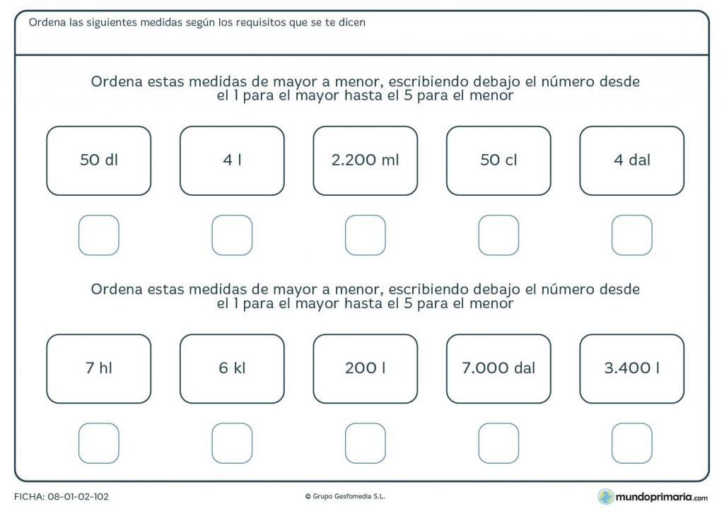 Ficha de ordenar capacidades para primaria