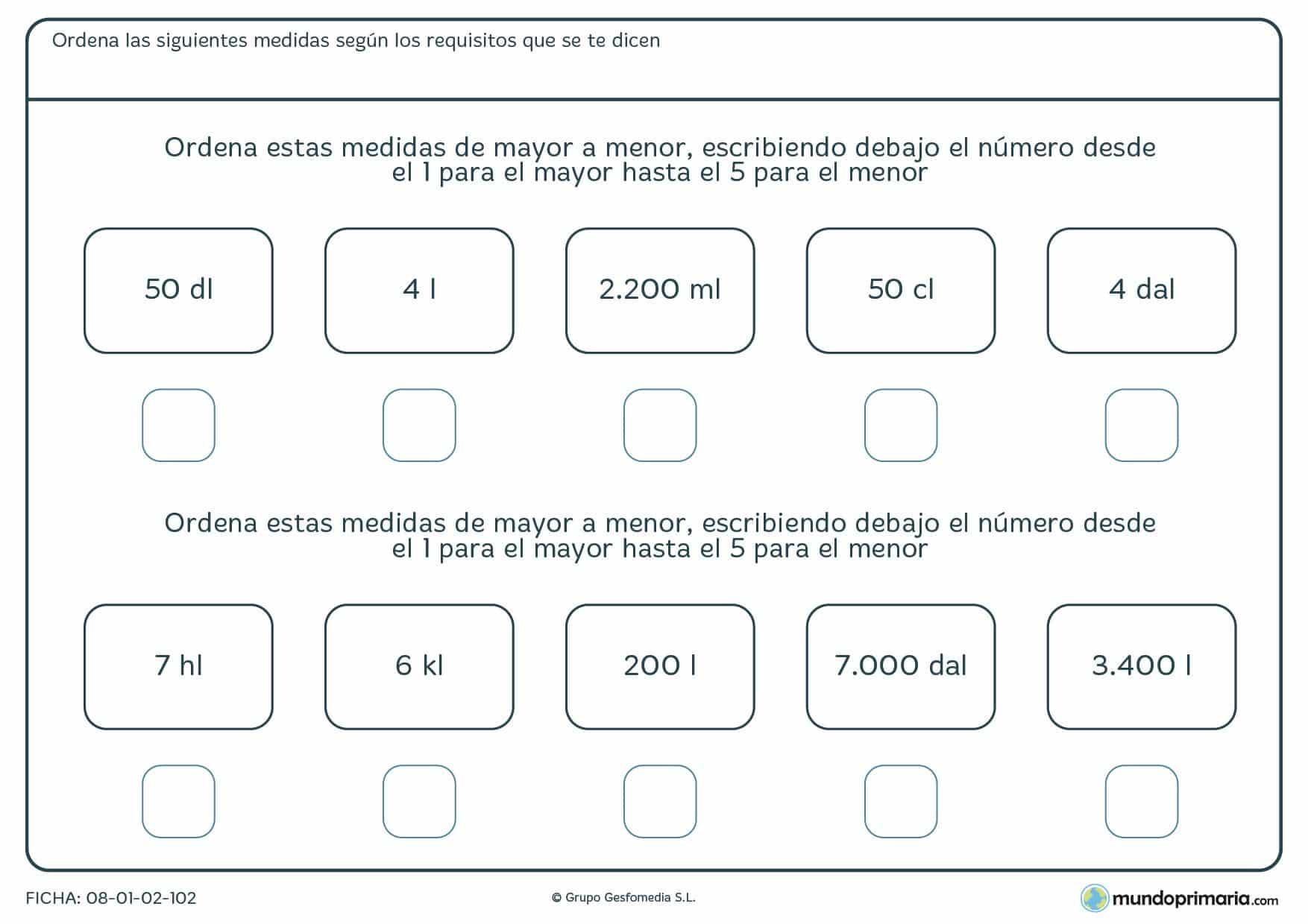 Ficha de ordenar capacidades en litros y otras unidades de mayor a menor capacidad.
