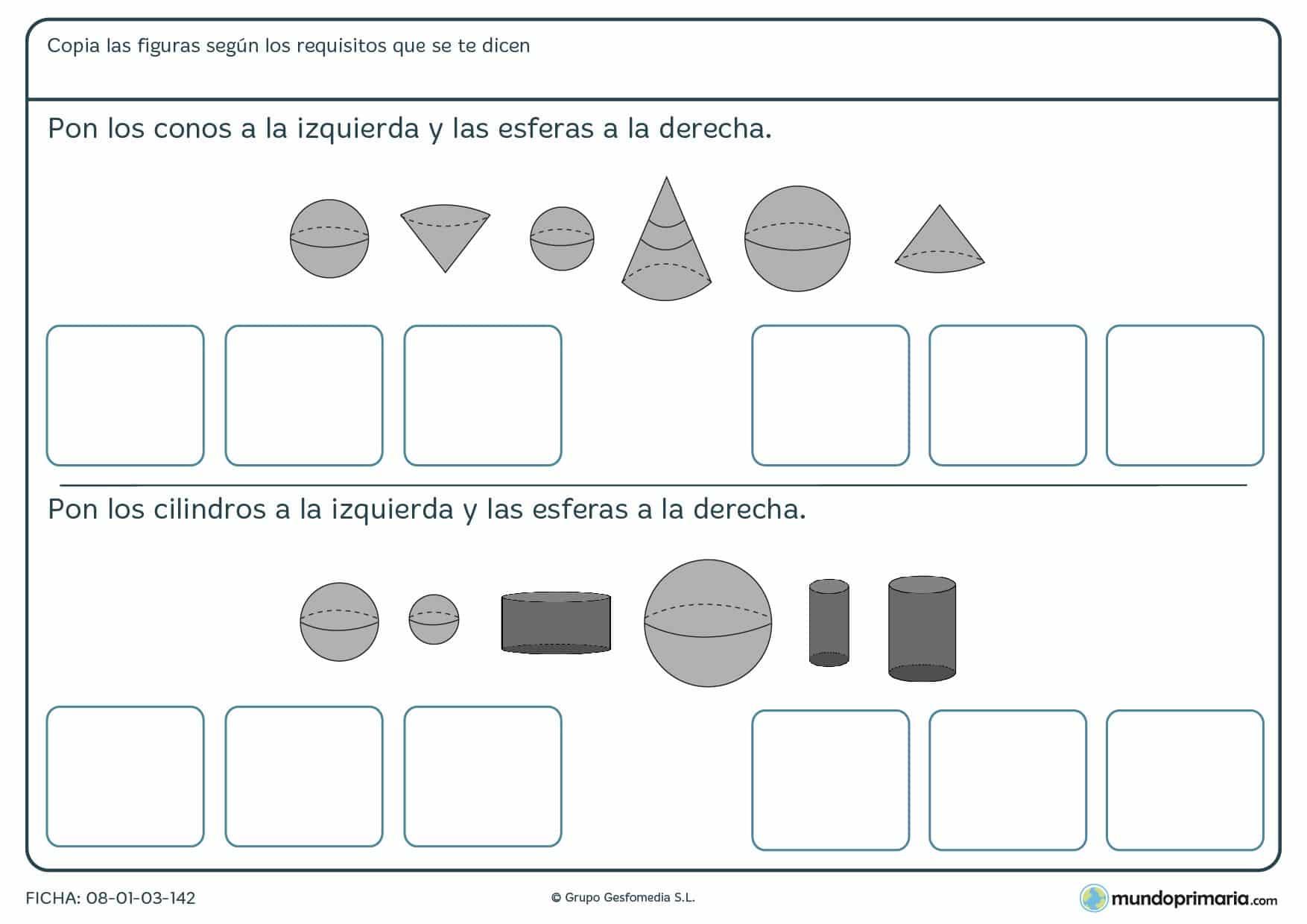 Ficha de ordenar cilindros, conos y esferas en el orden que se indica en el enunciado.