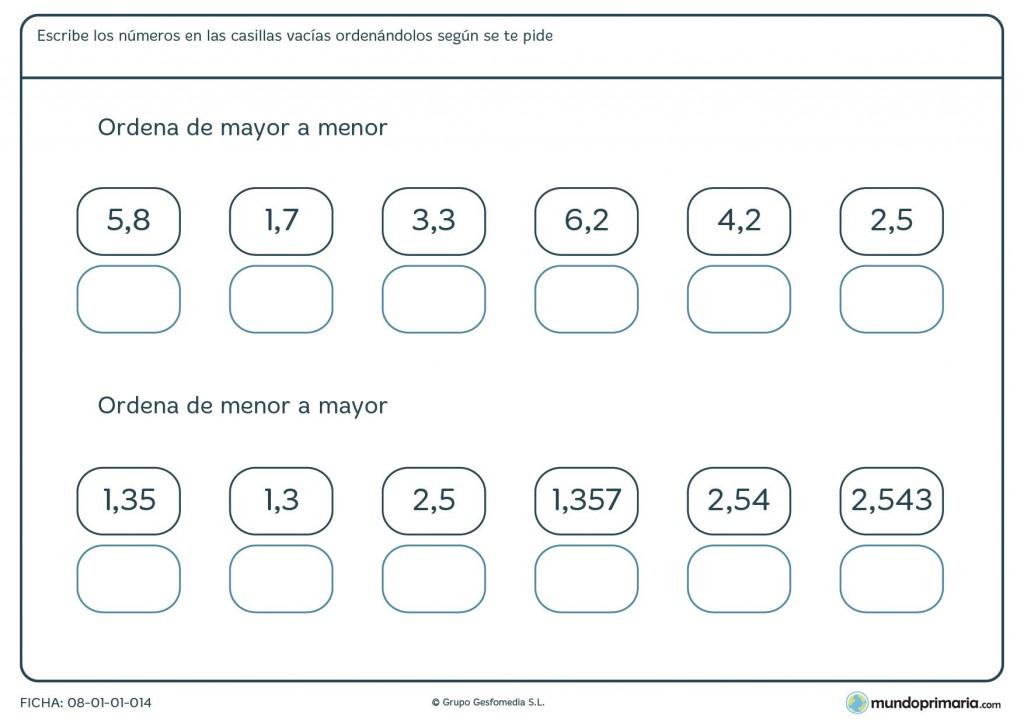 Ficha de ordenar con 1 decimal para niños de primaria