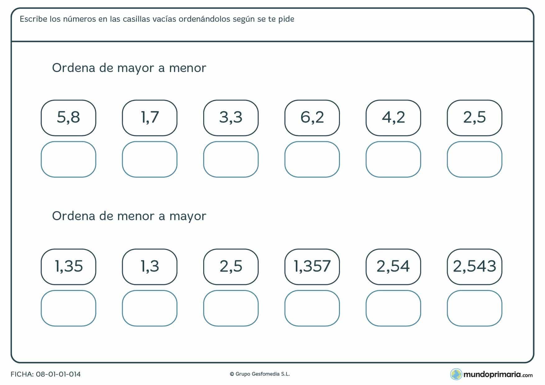 Ficha de ordenar con 1 decimals según su valor y en el orden que te pida el enunciado.
