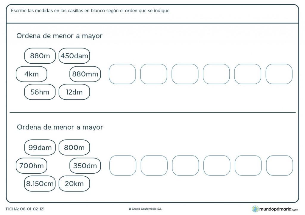 Ficha de ordenar de mayor a menor medidas para primaria