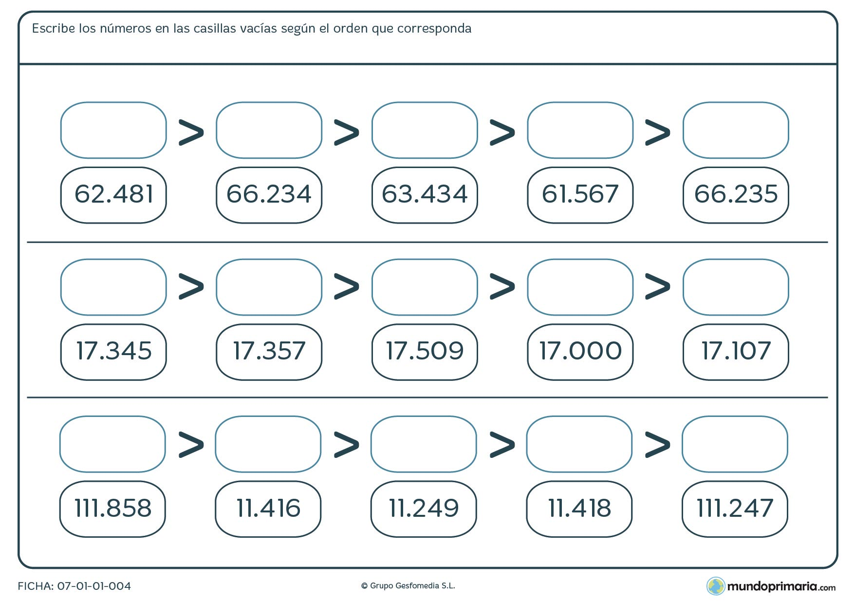 Ficha de ordenar de mayor a menor números rellenando los espacios vacíos.