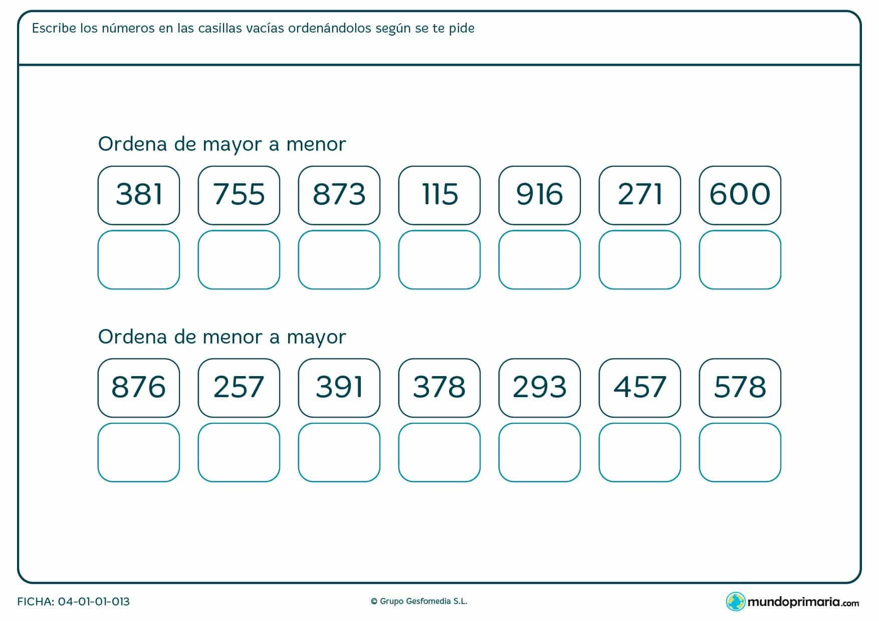 Ficha de ordenar de mayor a menor los números de 3 cifras que te mostramos.