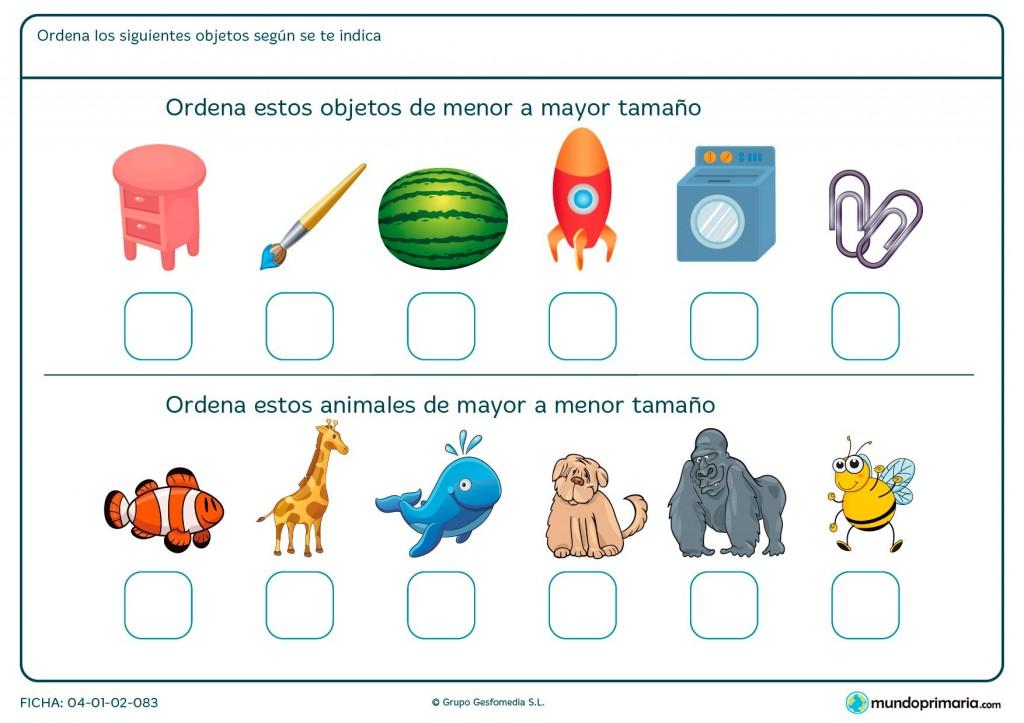 Ficha de ordenar de menor a mayor para primaria