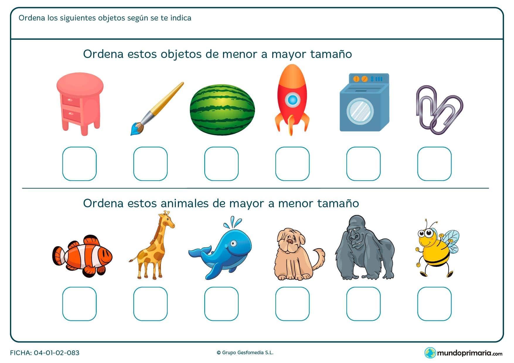 Ficha de ordenar de menor a mayor o de mayor a menor objeto o animales.