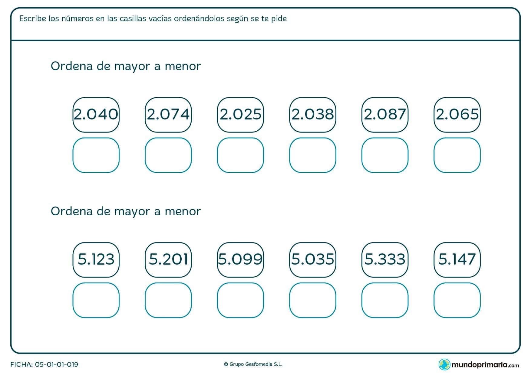 Ficha de ordenar desde el menor número de cuatro cifras en orden de mayor a menor.