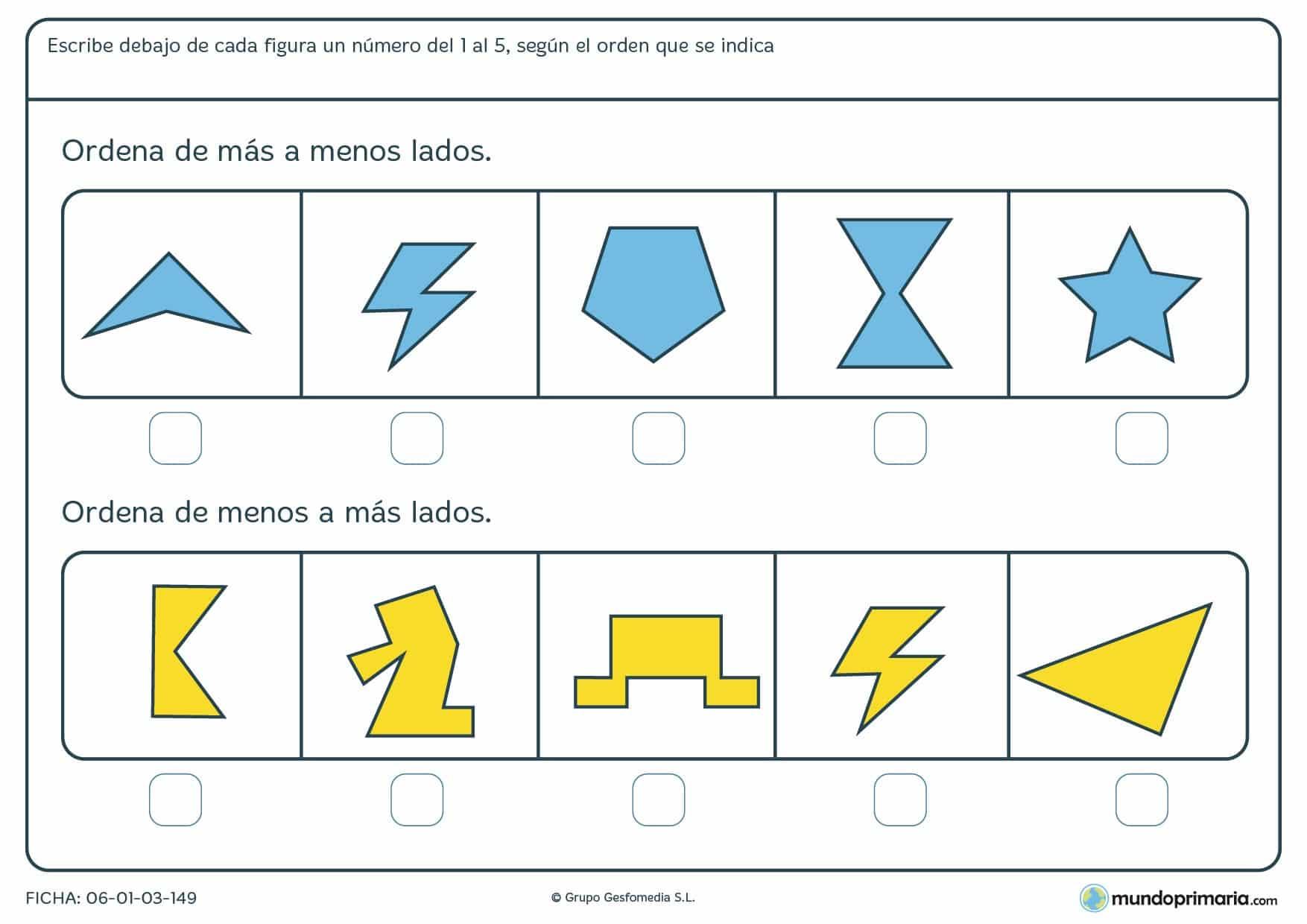 Ficha de ordenar figuras geométricas de más a menos lados o viciversa, escribiendo el número de la posición que ocupa cada una.