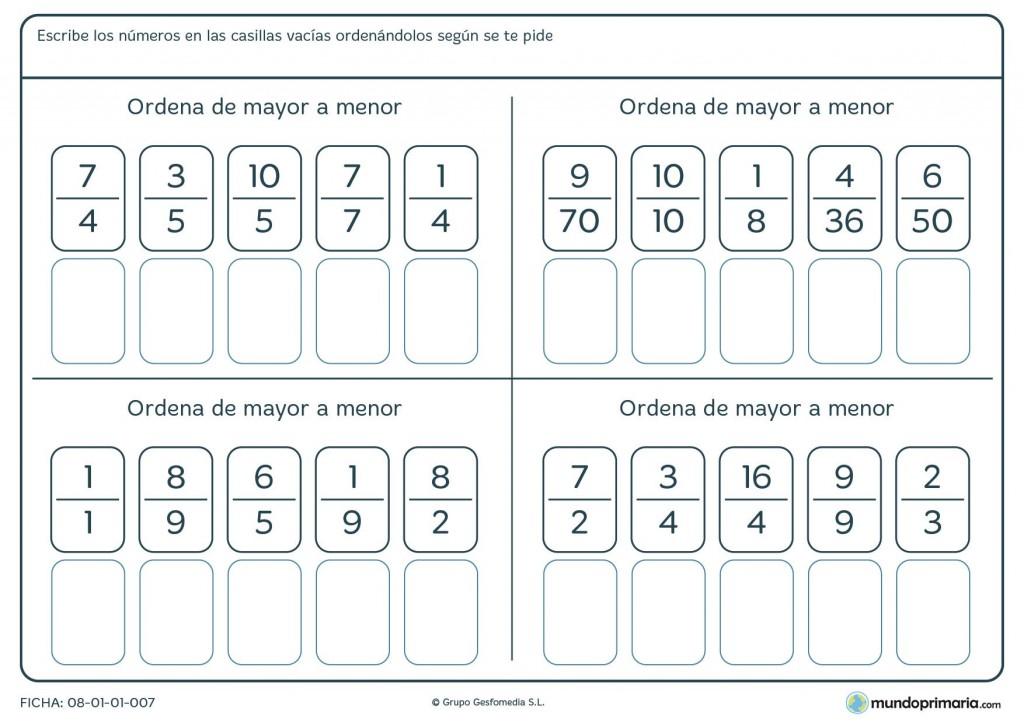 Ficha de ordenar fracciones de mayor a menor para primaria