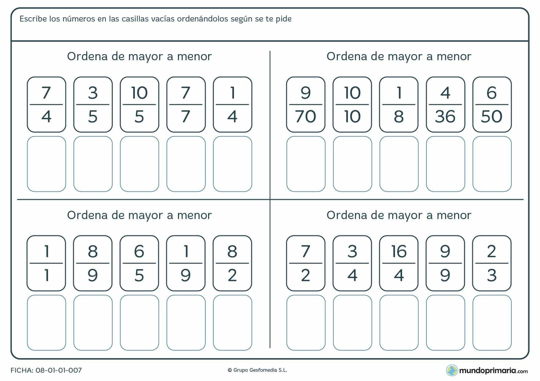 Ficha de ordenar fracciones de mayor a menor en las casillas vacías de contenido.