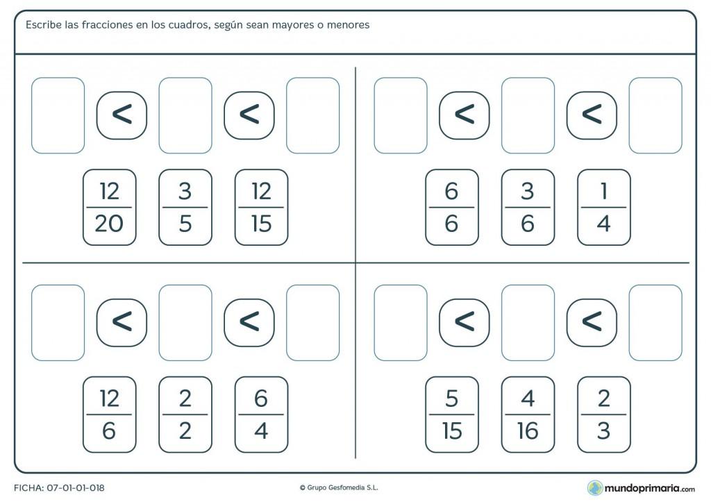 Ficha de ordenar fracciones de menor a mayor para niños de 5º primaria