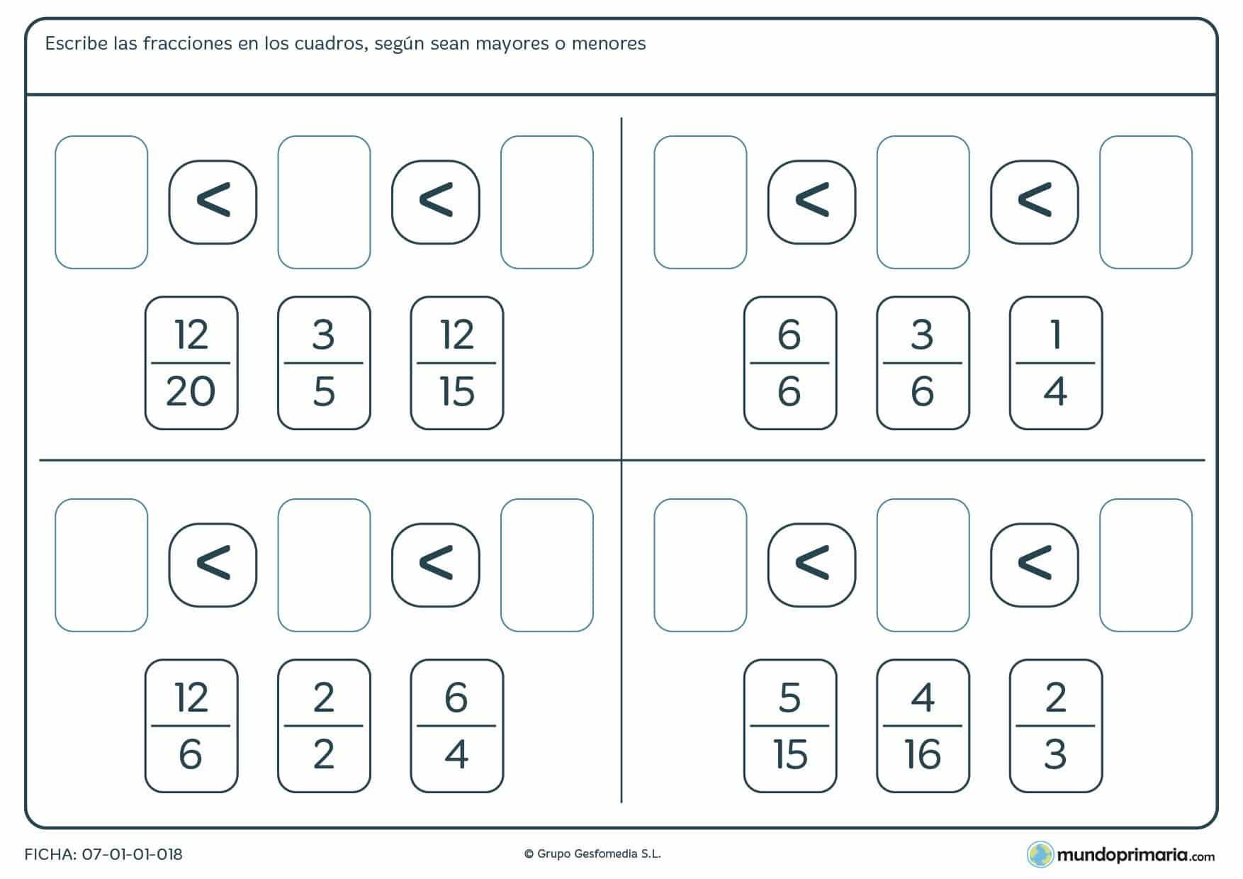 Ficha de ordena fracciones de menor a mayor rellenando los huecos en blanco.