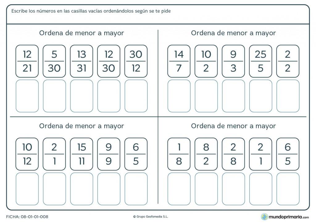 Ficha de ordenar fracciones de menor a mayor para primaria