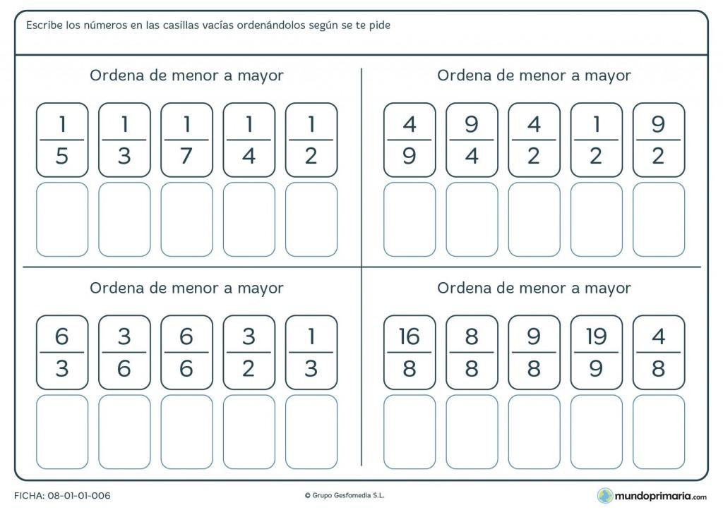 Ficha de ordenar fracciones para niños de primaria