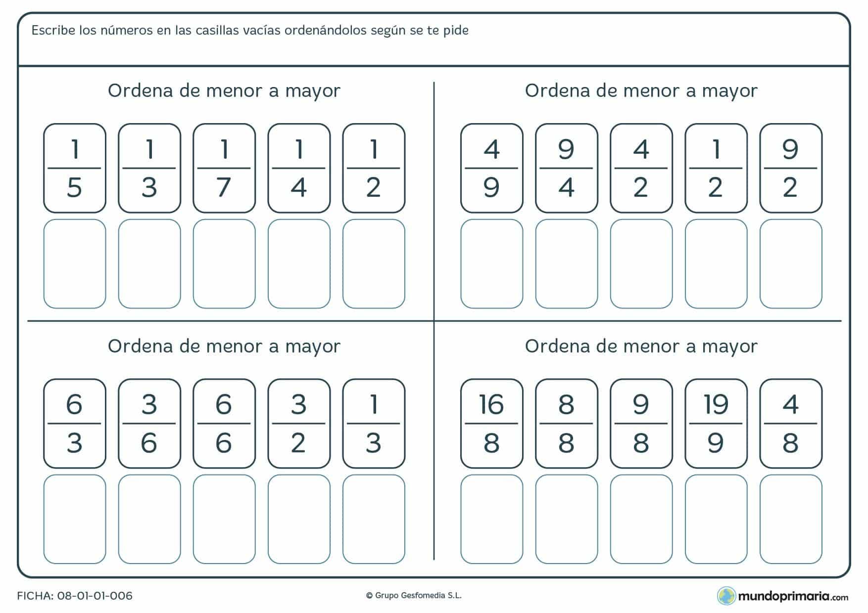 Ficha de ordenar fracciones según su valor y en el orden que te pida el enunciado.