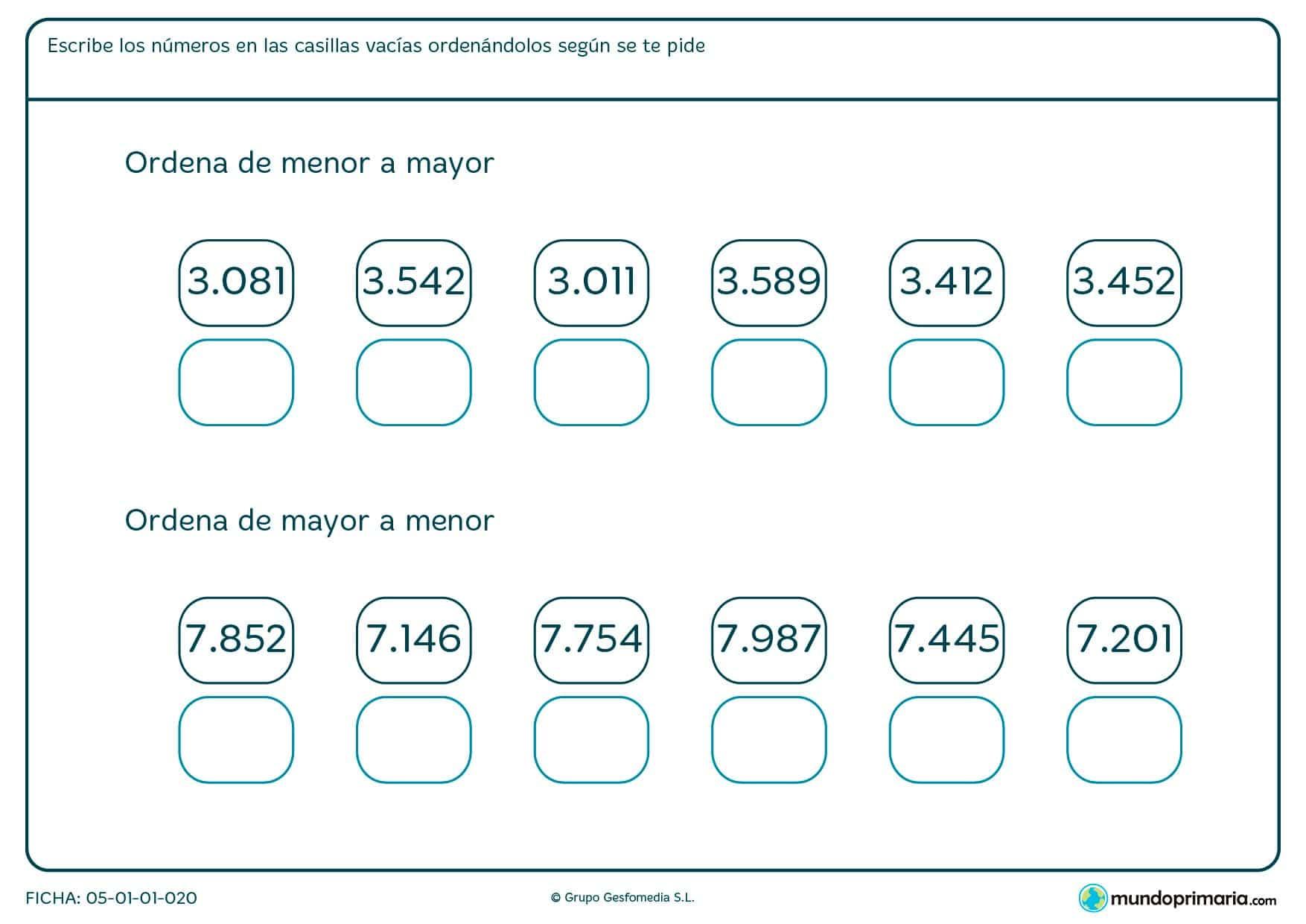 Ficha de ordenar hasta el mayor o el menor una serie de números que te ponemos.