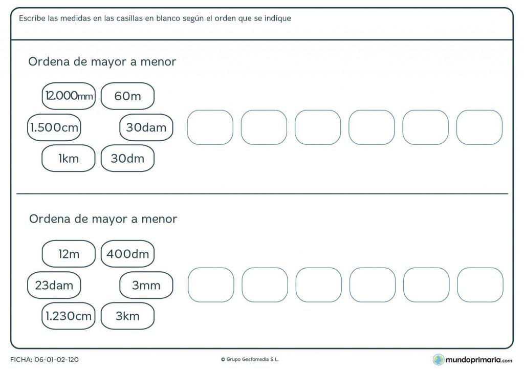 Ficha de ordenar medidas equivalentes para niños de 9 años